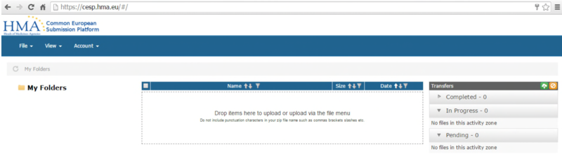 Screenshot of integrated upload screen