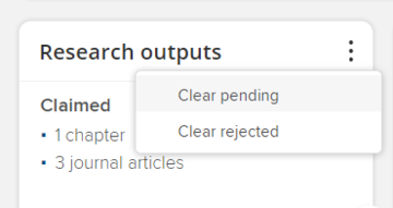Screenshot showing the research outputs tiles and the 'clear pending' option