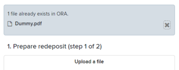 Screenshot of deposit page showing the 'Upload a file' option
